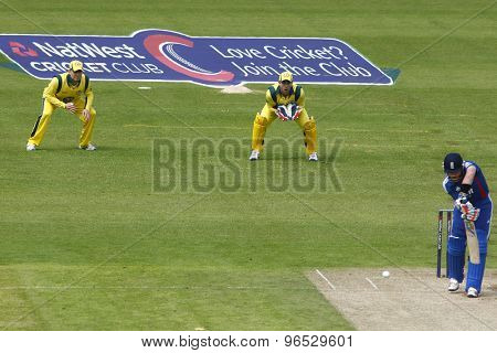 CHESTER LE STREET, ENGLAND. JULY 07 2012: Australia's captain Michael Clarke, Australia's Matthew Wade, and England's Ian Bell, during the 4th one day international between England and Australia