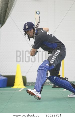 CHESTER LE STREET, ENGLAND. JULY 06 2012: England's Steven Finn, during the official training and net session prior to the 4th one day international between England and Australia