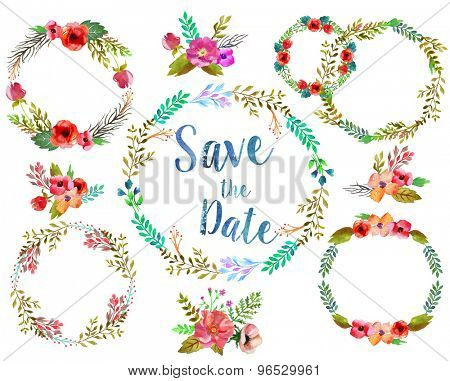 Watercolor wreathes with leaves and flowers, possible to for wedding invitation.