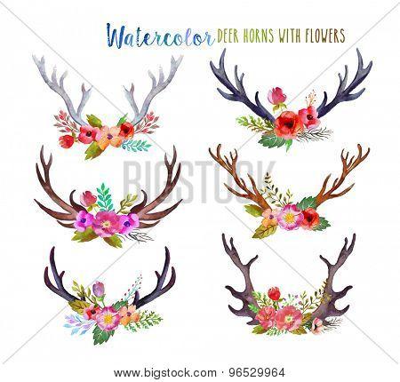 Watercolor deer horns with flowers.