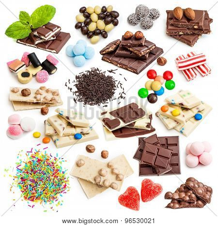 Collage of white and milk chocolate and candies isolated on white background