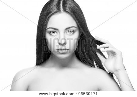 Attractive Beautiful  Woman Portrait On White Background Isolated