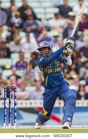 LONDON, ENGLAND - June 17 2013: Sri Lanka's Tillakaratne Dilshan batting during the ICC Champions Trophy international cricket match between Sri Lanka and Australia.