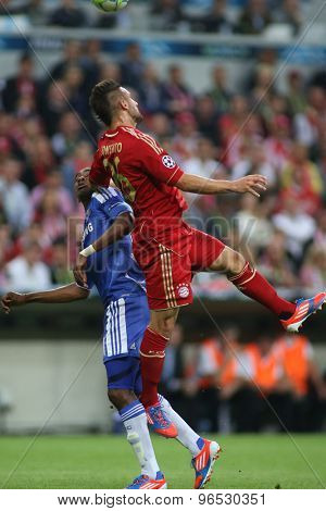 MUNICH, GERMANY May 19 2012. Chelsea's Ivory Coast forward Salomon Kalou and Bayern's German defender Diego Contento in action during the 2012 UEFA Champions League Final