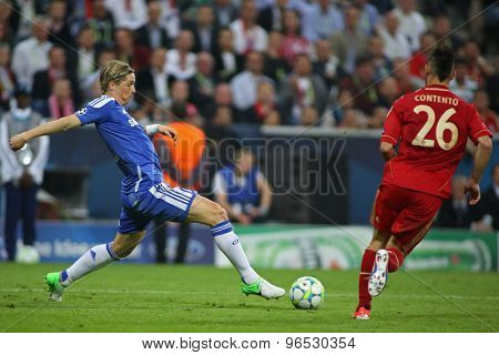 MUNICH, GERMANY May 19 2012. Chelsea's Spanish forward Fernando Torres and Bayern's German defender Diego Contento in action during the 2012 UEFA Champions League Final