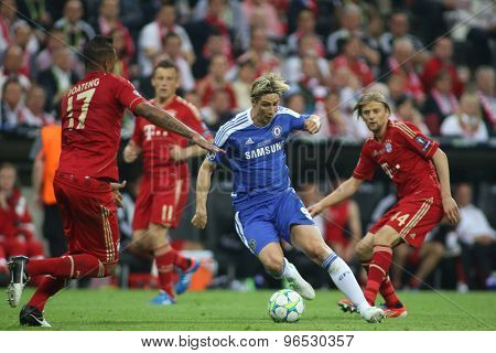 MUNICH, GERMANY May 19 2012. Bayern's German defender Jérôme Boateng and Chelsea's Spanish forward Fernando Torres in action during the 2012 UEFA Champions League Final at the Allianz Arena Munich