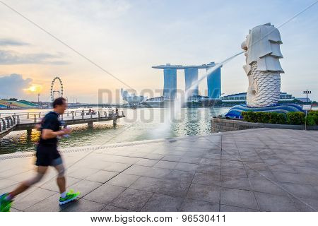 Singapore skyline and view Marina bay with sunrise