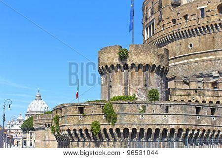 Ancient Castle With Tower And Saint Paul's Cathedral In Perspective