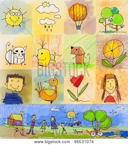 Children's Drawing Styles. Symbols Set With  Human Family, Animals, Nature, Objects On Colorful Back