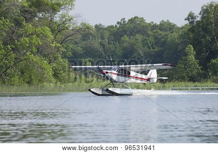 Small Floatplane Lands On A Minnesota Lake