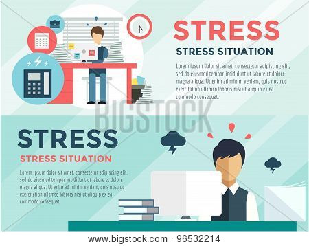 Stress on the work. Office life and business man. Stock design elements.