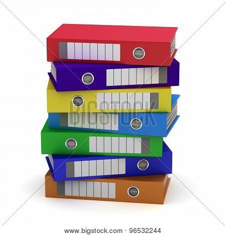 Seven Colorful File Folders