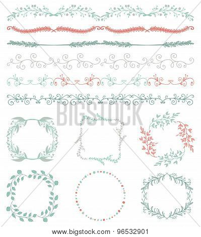 Colorful Hand Sketched Seamless Borders, Frames, Branches