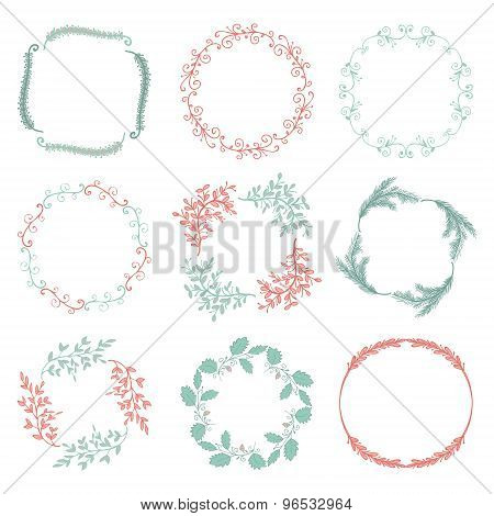 Vector Colorful Hand Sketched Floral Frames, Borders
