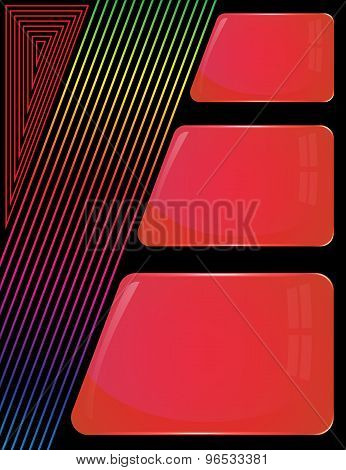 Three glass red plates with colorful decoration lines