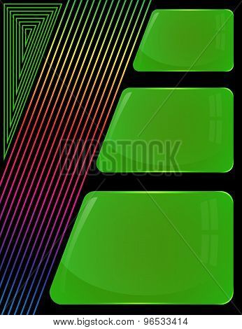 Three glass green plates with colorful decoration lines