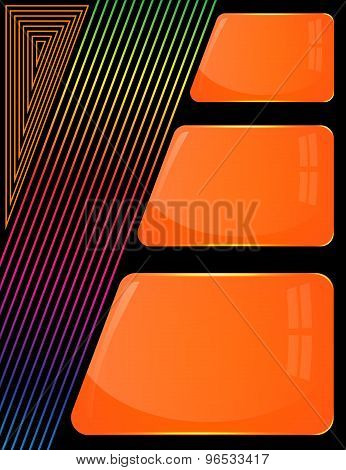 Three glass orange plates with colorful decoration lines