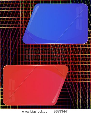 Red and blue glass plates with colorful decoration lines