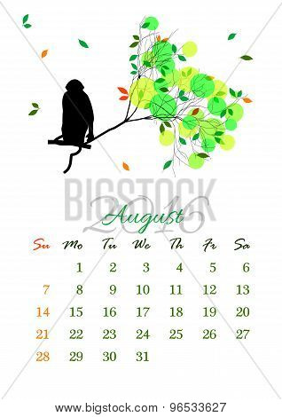 Calendar Sheet For 2016 August With Monkey On Tree Branch