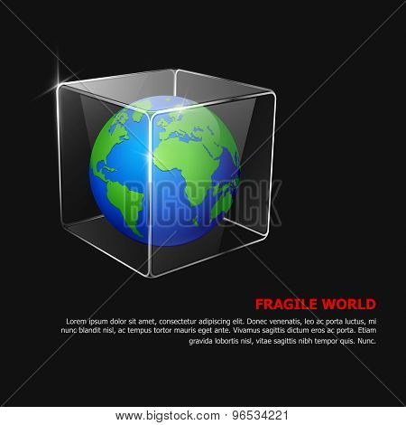 Fragile world. Vector background with globe in glass box.