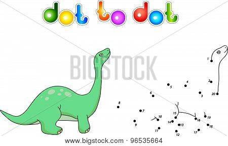 Funny Cute Diplodocus. Educational Game For Kids. Connect Digits Dot To Dot And Ge Image