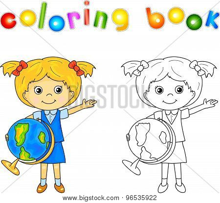 ?ute Little Girl Standing With A Globe In Hands And Smiling  Educational  Game For Kids  Vector Illus poster
