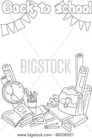 Back To School Coloring Book. Educational Background With Books, Notebooks, Pen, Pencil, Brush, Glob