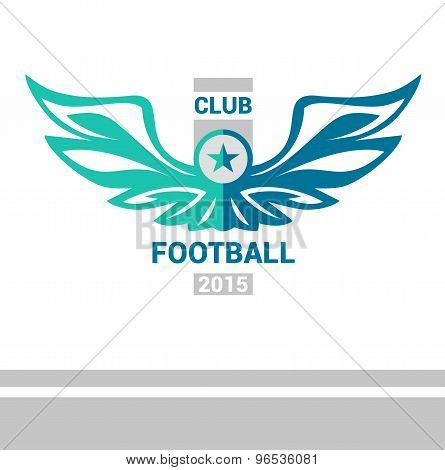 Vector logo template soccer football team. Wings of a bird, an e