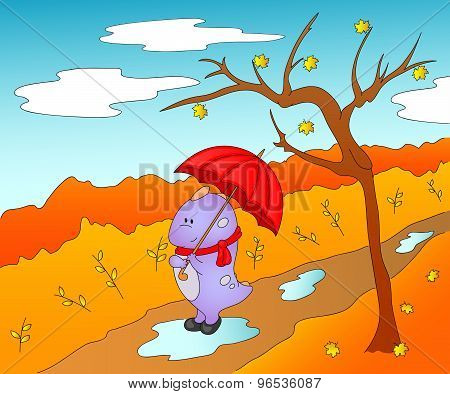 Cute Friendly Alien In Rubber Boots, Scarf And With Umbrella In The Paws. Autumn Landscape, Leaves F
