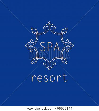 Template vector logo for spa resort. Elegant monogram, trendy st
