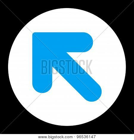 Arrow Up Left flat blue and white colors round button