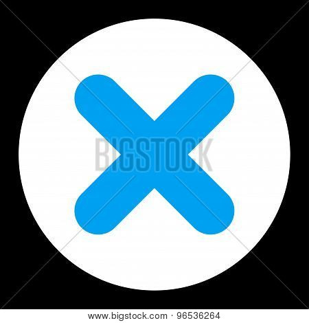 Cancel flat blue and white colors round button