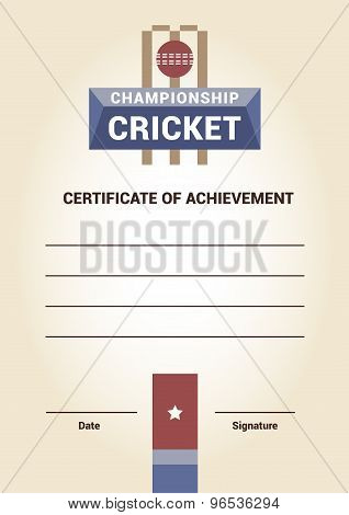Vector Template Certificate, Diploma, cricket
