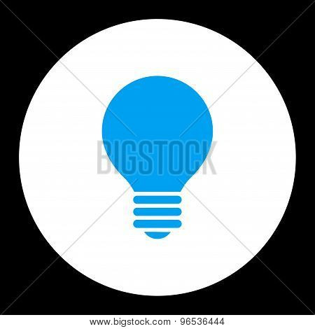 Electric Bulb flat blue and white colors round button