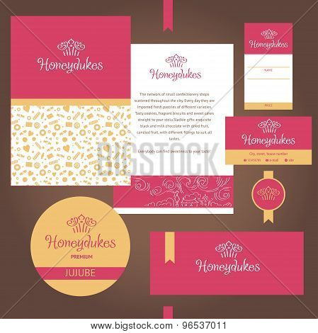 Vector stationery template design for cafe, sweets, confectioner