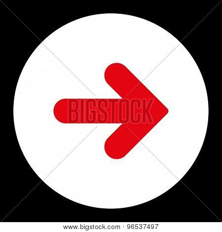 Arrow Right flat red and white colors round button