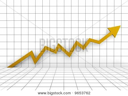 3d graph wall arrow gold yellow high