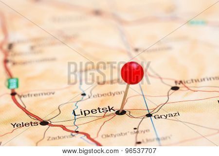 Lipetsk pinned on a map of europe