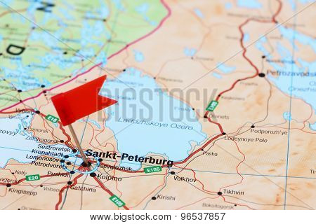 Saint Petersburg pinned on a map of europe