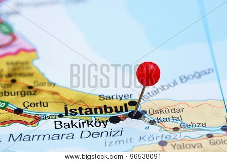 Istanbul pinned on a map of europe