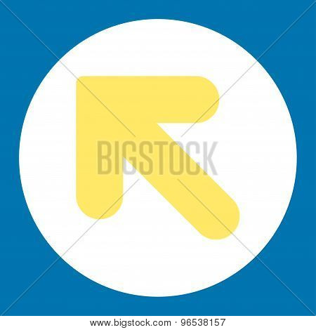 Arrow Up Left flat yellow and white colors round button