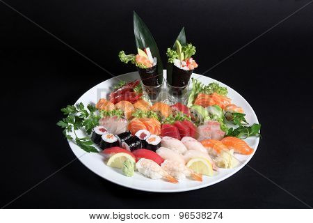 Plate Of Sashimi And Sushi