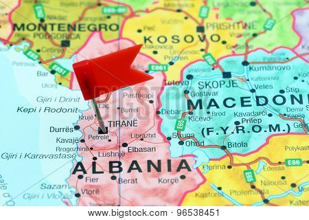 Tirane pinned on a map of europe