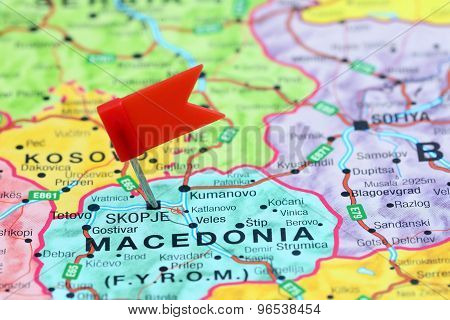 Skopje pinned on a map of europe