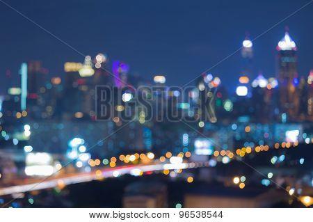 Blurred bokeh city building lights night view