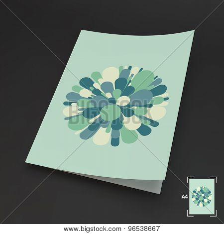 A4 Business Blank. Salute And Fireworks. 3d Vector Illustration. Celebration Card. Can Be Used For Advertising, Marketing And Presentation.