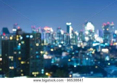 Abstract blurred bokeh of city light at night