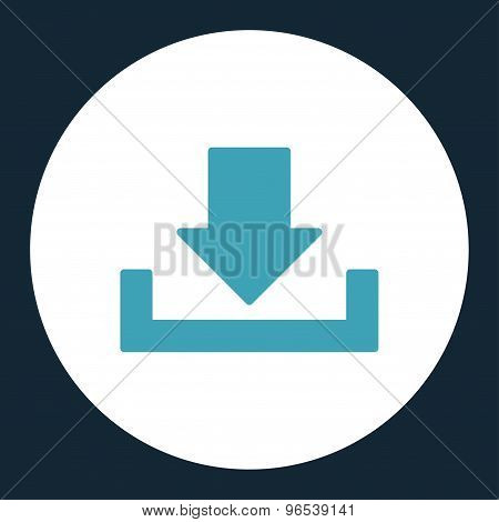 Download flat blue and white colors round button