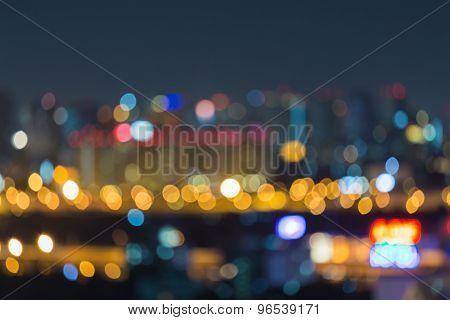 City light blurred bokeh skyline at night