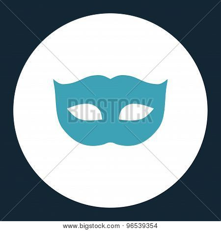 Privacy Mask flat blue and white colors round button